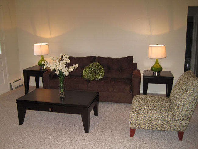 Living room with couch, chair, and coffee table